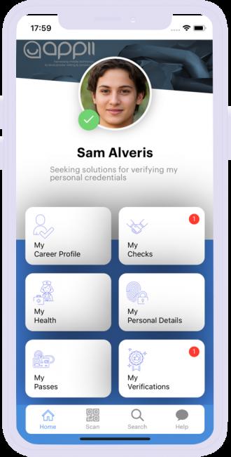 Saam Alveris - Home Page - Mobile App